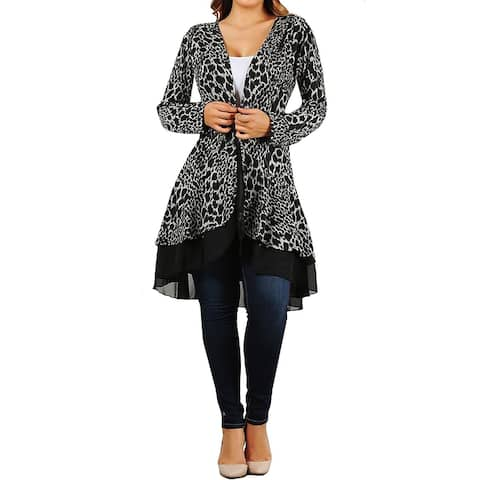 Funfash Plus Size Women Cardigan Gray Black Lace Sweater Made in USA