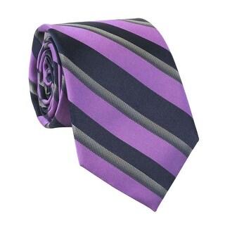 Calvin Klein Hot Reflection Stripe Slim Silk Blend Tie Purple and Navy
