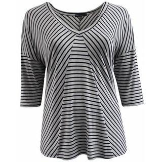 Women Plus Size Striped V Neck Asymmetrical Knit Top Tee Blouse Shirt Grey 170.15