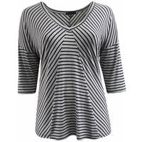 Women Plus Size Striped V Neck Asymmetrical Knit Top Tee Blouse Shirt Grey 170.15