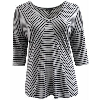 Women Plus Size Striped V Neck Asymmetrical Knit Top Tee Blouse Shirt Grey 170.15 (2 options available)