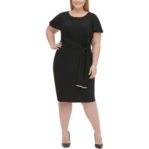 Tommy Hilfiger Womens Plus Wear to Work Dress Jersey Midi - Black