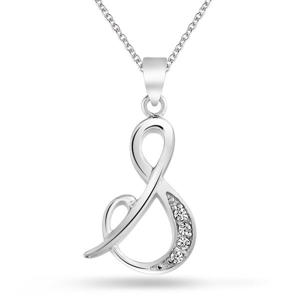 748f15c21 Bling Jewelry .925 Silver Rhodium Plated CZ Cursive Initial Letter S  Alphabet Necklace