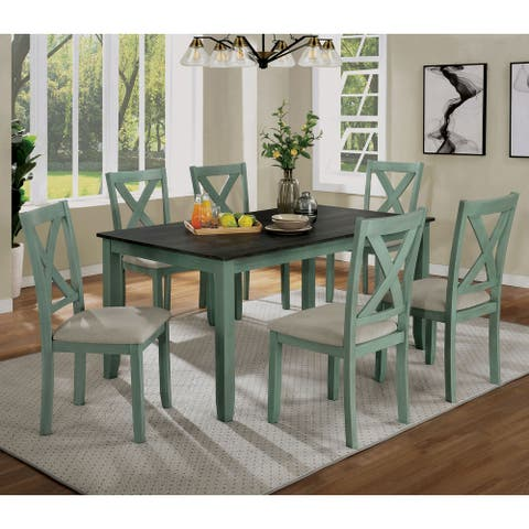 Furniture of America Cleyton Rustic Solid Wood 7-piece Dining Set