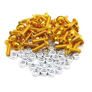 40pcs M6 Gold Tone Aluminum Alloy Hex Socket Head Motorcycle Bolts Screws Nuts