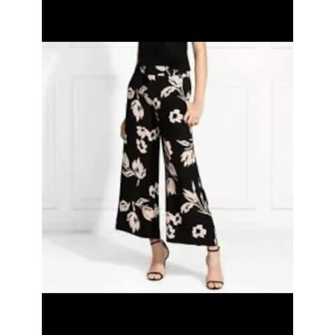 RACHEL ZOE Womens Black Floral Wide Leg Pants Size 4