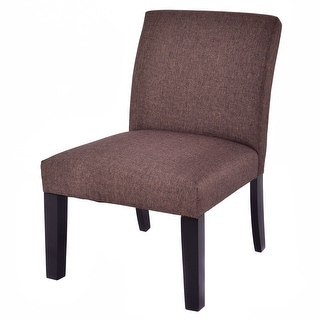 Costway Fabric Wood Armless Slipper Dining Sofa Chair Upholstered Living Room Furniture