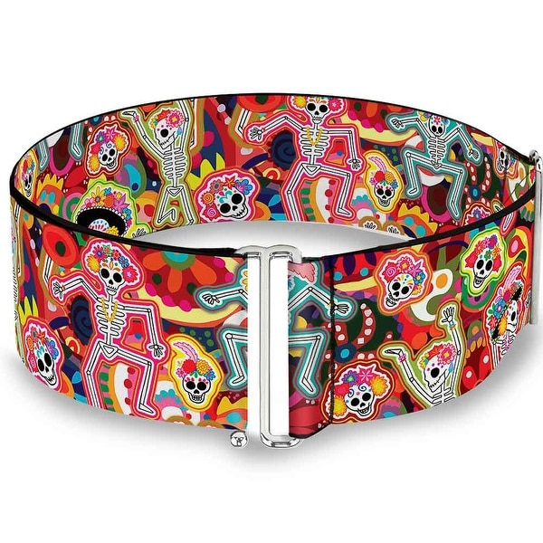 Dancing Catrinas Collage Multi Color Cinch Waist Belt ONE SIZE