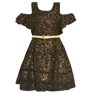 Girls Black Gold Cold-Shoulder Belted Tea-Length Christmas Dress