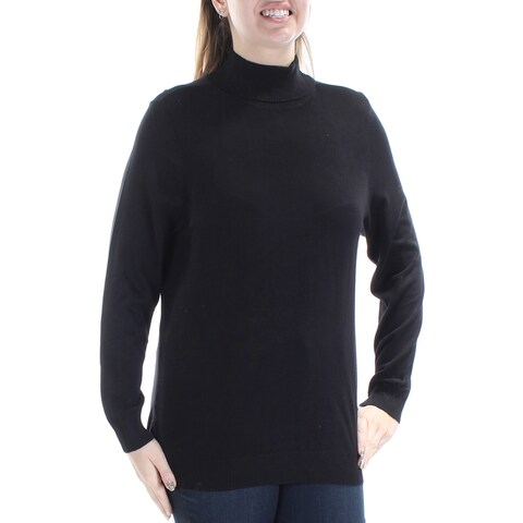 Womens Black Long Sleeve Turtle Neck Casual Top Size 0X