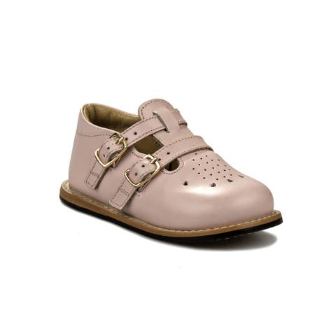 Josmo Pink Leather Double Buckle First Walker Shoes Unisex Baby Toddler
