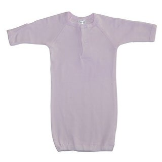 Bambini Baby Girls Pink Solid Color Rib Knit Cotton Mitten Cuffs Gown