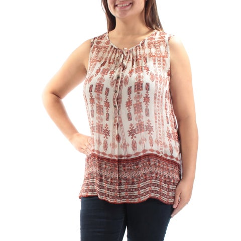 LUCKY BRAND Womens Brown Sheer Printed Sleeveless Tie Neck Top Size: XL