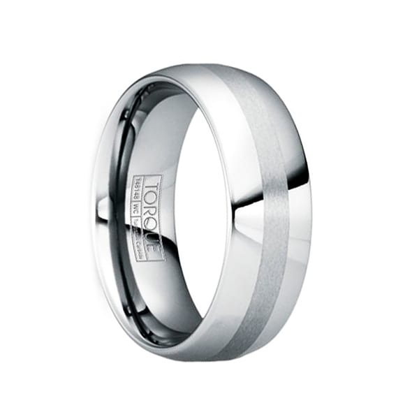 OTHO Polished Tungsten Wedding Ring with Brushed Stripe by Crown Ring - 6mm