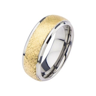 Inox Stainless Steel and Gold IP Scratched Patterned Ring .Available Sizes: 9 - 12