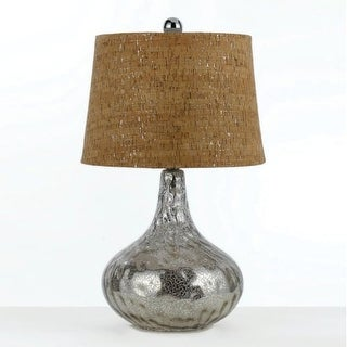 "AF Lighting 8264-TL Elements Series ""Clifton"" Table Lamp with Tan Natural Cork Shade and On/Off Switch, Finished in Silver Glass"