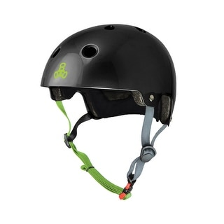 Triple eight 3047 triple eight s/m black gloss w/grn dual cert helmet