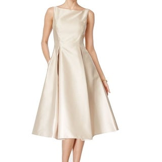 Adrianna Papell NEW Beige Women's Size 8 V-Back Pleated A-Line Dress