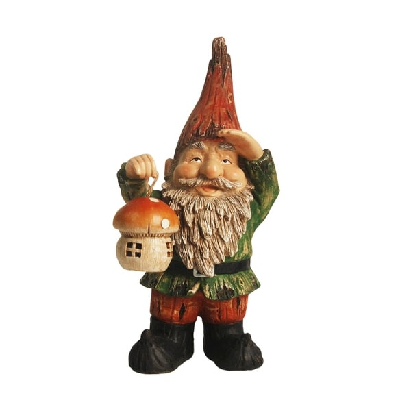 "18"" Forest Gnome Holding a Mushroom Lantern Solar Powered LED Lighted Outdoor Patio Garden Statue"
