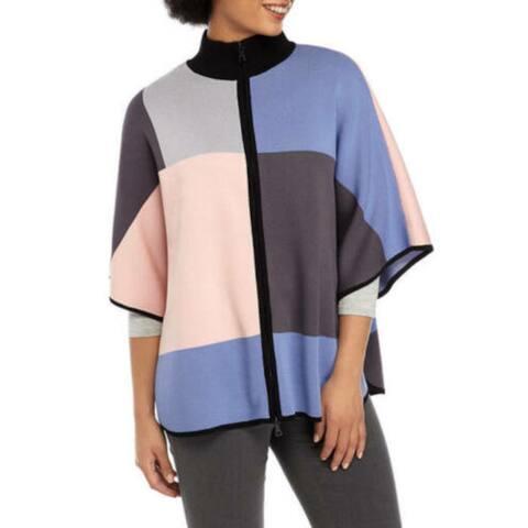 ANNE KLEIN Womens Blue Color Block Short Sleeve Top Size M