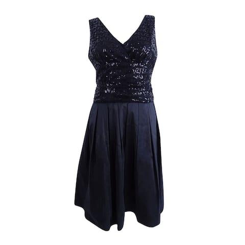 SL Fashions Women's Sequined V-Neck Taffeta Party Dress