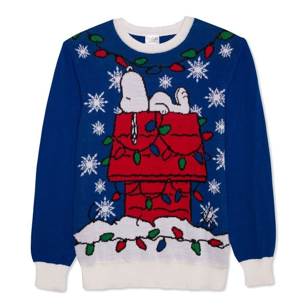3af15c6dabd Shop Peanuts Blue White Mens Size 2XL Snoopy Holiday Crewneck Sweater -  Free Shipping On Orders Over  45 - Overstock - 22362584
