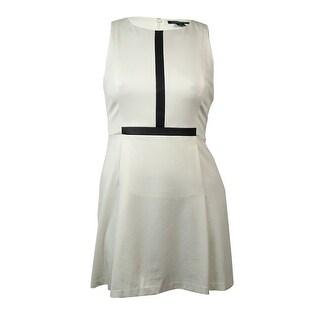 Lauren Ralph Lauren Women's Faux Leather A-Line Dress - Cream/Black