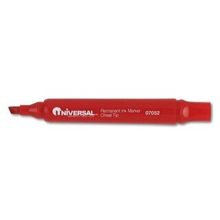 Universal 07052 Permanent Markers, Chisel Tip, Red, Dozen