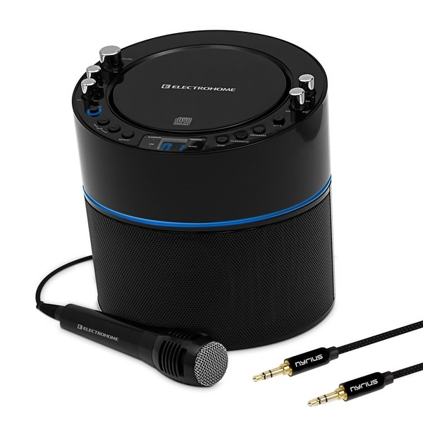 Electrohome Karaoke Machine Speaker System CD+G Player with 2 Microphone Connections & Bonus 3.5mm Aux Stereo Cable