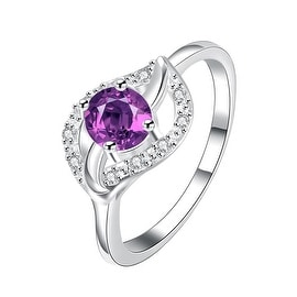 Classical Purple Citrine Floral Petal Ring