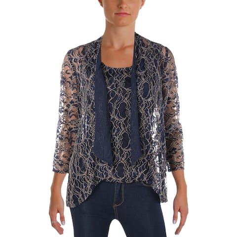 Alex Evenings Womens Collarless Blazer Lace Metallic