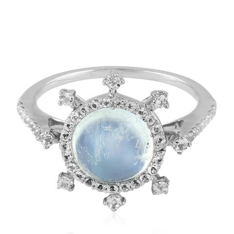 Cocktail Ring Moonstone Topaz Sterling Silver Jewelry