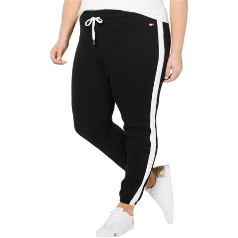 Tommy Hilfiger Womens Striped Athletic Sweatpants, black, 0X