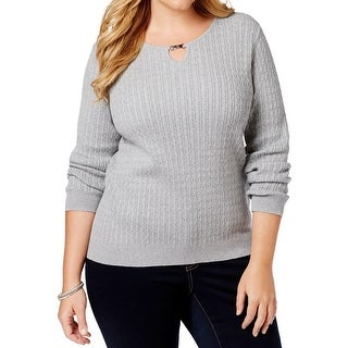 Karen Scott Womens Plus Pullover Sweater Cable Knit Heathered