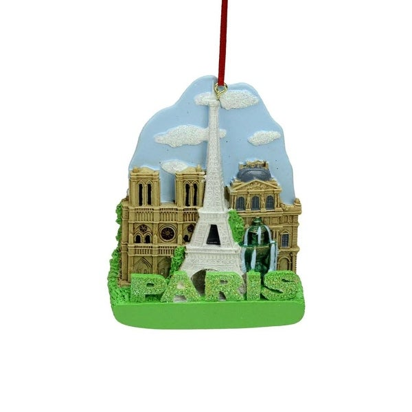 "4"" Decorative Glittered International City of Travel ""Paris"" Christmas Ornament"