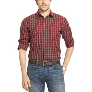 G.H. BASS & CO. River Rock Textures Plaid Button-Down Shirt Rhubarb Red