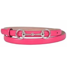 New Gucci Women's 282349 Hot Pink Leather Horsebit Buckle Skinny Belt 38 95