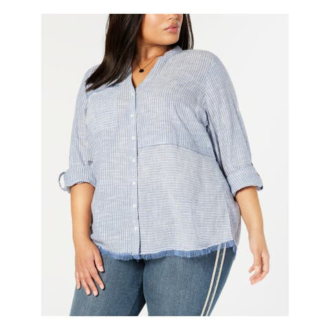 STYLE & COMPANY Womens Blue Striped 3/4 Sleeve Button Up Top Size 2X