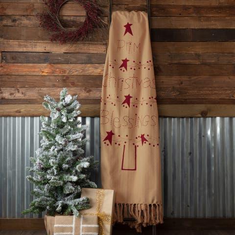 Prim Christmas Blessings Woven Throw 60x50