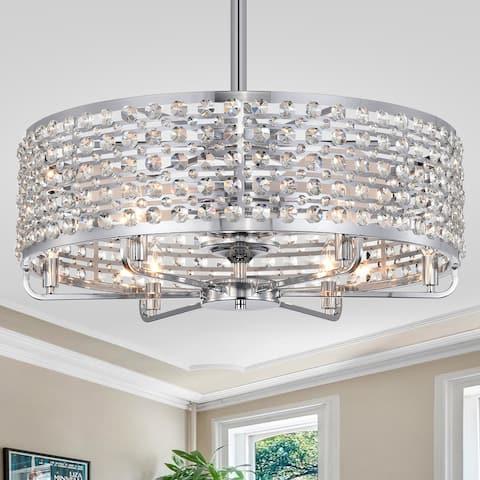 Julian Chrome 28-Inch 6-Light Metal & Crystal Drum Shade Fandelier Lighted Ceiling Fan