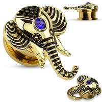 14 Kt. Gold Plated Sapphire Blue CZ Elephant Top Screw Fit Flesh Tunnel (Sold Ind.)