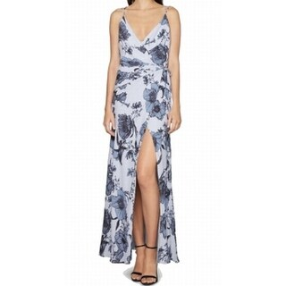 Fame and Partners NEW Blue Womens Size 6 Wrap Floral Print Maxi Dress