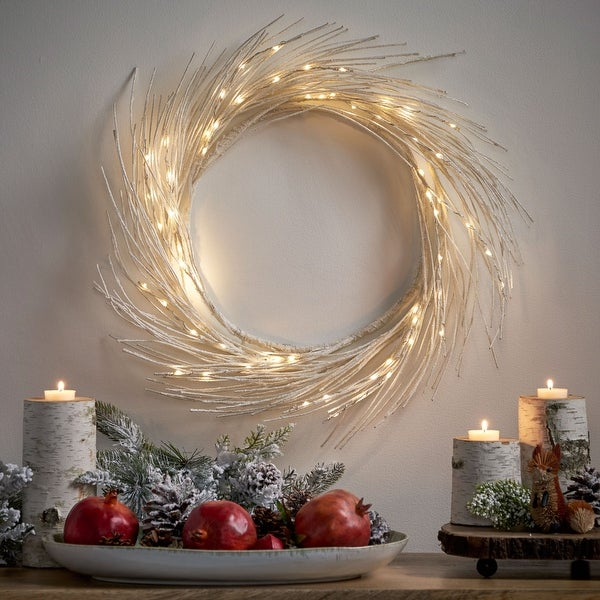"""Reese 24"""" Pre-lit Warm White LED Christmas Wreath - Dove Glitter. Opens flyout."""