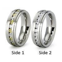 Titanium Eternity CZ Wedding Band with Alternating Yellow and White CZs (Sizes 6-8)