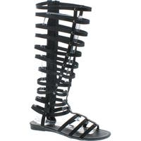 Bumper Women's Lory 90 Gladiator Sandals - Black pu