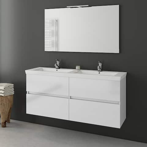 """Achilles 48"""" White Double Floating Vanity with His and Hers Sinks"""