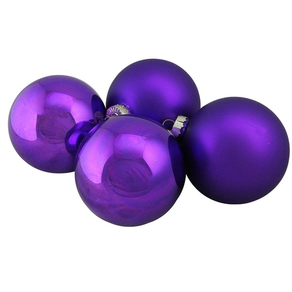 "4-Piece Shiny and Matte Purple Glass Ball Christmas Ornament Set 4"" (100mm)"