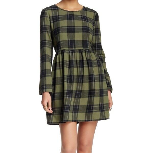 Wild Pearl NEW Green Women's Size Small S Plaid A-Line Sheath Dress