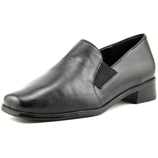 Trotters Ash Women W Round Toe Leather Black Loafer
