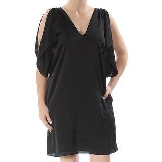 RACHEL ROY Womens Black Sheer Sleeveless V Neck Above The Knee Shift Evening Dress  Size: S